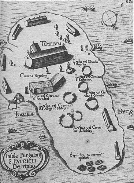 Map of Station Island, Lough Derg, County Donegal, Ireland. Date 1666.